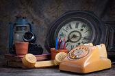 Old telephone, type writer — Stock Photo