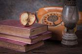 Dry rot apple, old rusty kerosene lamp — Stock Photo