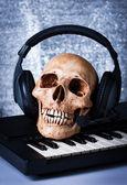 Human skull with earphones — Stock Photo