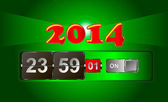 The clock shows the approach of 2014 — ストックベクタ