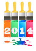 Paint painted inscription 2014 — Stock Vector