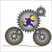 Man flees in the mechanism of gears — Stock Vector