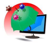 Bescherming tegen virusaanval — Stockvector