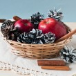 Stock Photo: Apples and cones