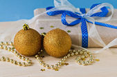 Gold cristmas balls — Stock Photo