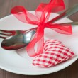 Valentines day set with silverware — Stock Photo