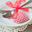 Valentines day set with silverware — Stock Photo #39176025