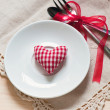 Valentines day set with silverware — Stock Photo #39176027