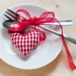 Valentines day set with silverware — Stock Photo #39176057