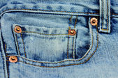 Coin pocket of a blue stylish jeans — Stock Photo