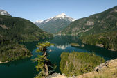 Diablo lake and Davis Peak — Stock Photo