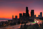 Seattle at sunset — Stock Photo