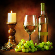 Stock Photo: Wine and grapes still life