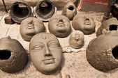 Clay heads for drying — Stok fotoğraf