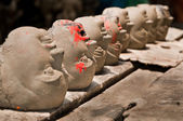 Heads in a row — Stock Photo