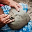 Creating Goddess Durga's head — Stock Photo
