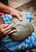 Creating Goddess Durga's head — Stock Photo