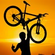 Cyclist raising his mountain bike — Stock Photo