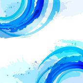 Blue. Abstract vector square background with brush strokes and w — Stock Vector