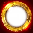 Round golden frame with flecks on red background and a place for — Stock Vector #38752987
