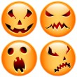Stock Vector: Set of four vector halloween buttons. Happy, scared, evil, smirk