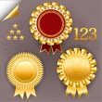 Vector set of red and gold award ribbon badges. — Stock Vector