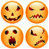Set of four vector halloween buttons. Happy, scared, evil, smirk — Stok Vektör