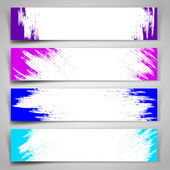 Set of vector banners with blue and purple brush strokes. — Stock Vector
