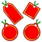 Vector conjunto de etiquetas navideñas de rojo y oro. — Vector de stock