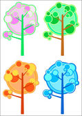 Vector set of trees, four seasons. — Stock Vector