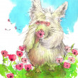 Watercolor drawing. Cute furry monster in the field of flowers. — Stock Photo