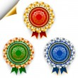 Three color vector award ribbon badges for 1, 2 and 3 places. — Stock Vector #39155021