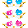 Pairs of hearts with gender symbols. — Stock Vector