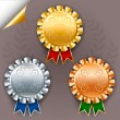 Vector set of three color award ribbon badges with silver and go — Stock Vector