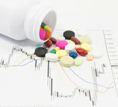 Pillen verschütten auf kursdiagramm — Stockfoto