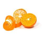 Orange with peeled spiral skin — Photo