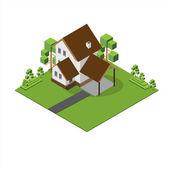 Isometric Big House — Stock Vector