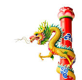 Isolated Chinese dragon sculpture — Stock Photo