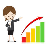 Business woman with growing graph — Stock Vector