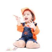 Izole mühendis çocuk kız — Stok fotoğraf