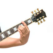 The guitarist show the B Major chord — Stock Photo