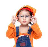 Asian Engineer baby girl take the glasses — Stockfoto
