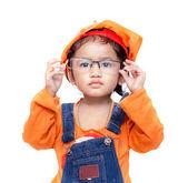 Nena asiática ingeniero tome las gafas — Foto de Stock