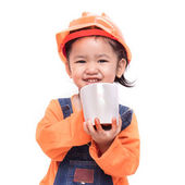 Smile Asian Engineer baby girl holding the white mug — Stock Photo