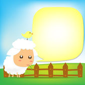 Cute Sheep text box 002 — Stock Vector
