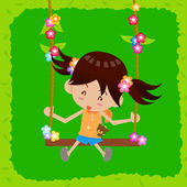 Little girl playing swing with happiness — Stock Vector