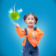 Smile Asian Engineer baby girl  with small green globe — Stock Photo #51580027
