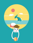 Handsome man hold the beach ball in the ocean background — Vector de stock