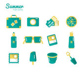 Summer on the beach Icons set. — Stock Vector