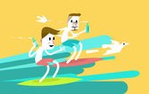 Two young sports surfer men riding a wave. — Vector de stock